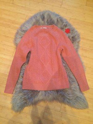 Zara Sweter z okrągłym dekoltem różowy