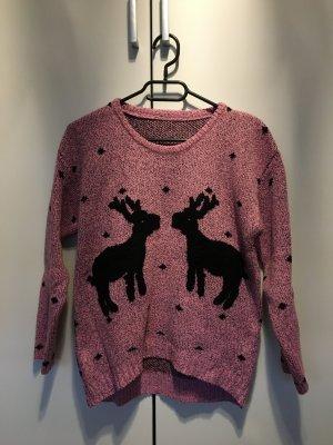 Pullover Weihnachten Rentiere Damen Rosé Schwarz Winter