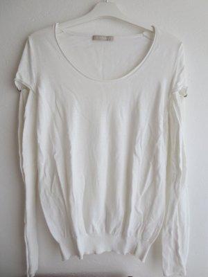 Pullover weiß Rundhals Feinstrick Größe M