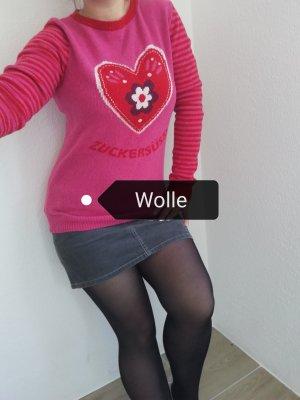 Adelheid Wełniany sweter czerwony neonowy-różowy