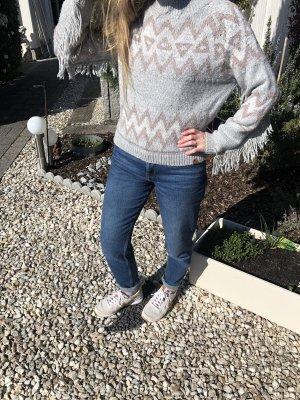 Pullover XS mit Fransenärmeln Ethno Muster