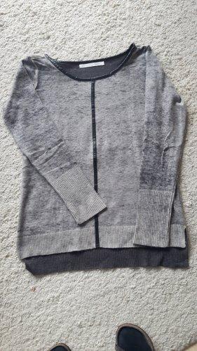 Pullover; yaya, Größe 38, grau-schwarz mit Lederapplikation
