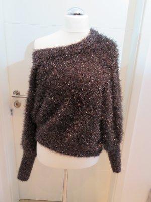 Pullover Zara braun auch  one shoulder zu tragen L Keulenaermel