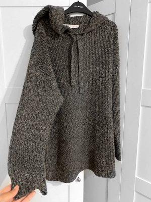 Pullover Zara Pulli Strickpullover Grau Weiß schwarz Neu mit Etikett Lang oversize kapuze Schleife