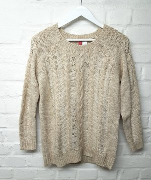 Pullover Zopfmuster Beige Nude Wolle H&M Gr. S/ 36