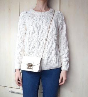 H&M Sweter z grubej dzianiny w kolorze białej wełny-kremowy Poliakryl