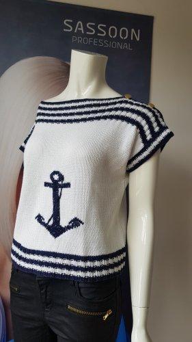 aus Italien Short Sleeve Sweater white-dark blue
