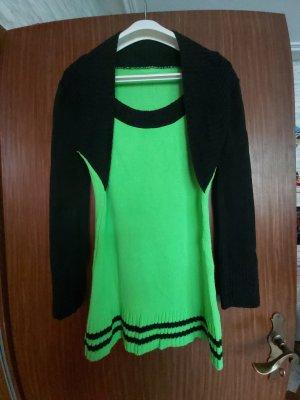 Robe pull vert fluo-noir coton