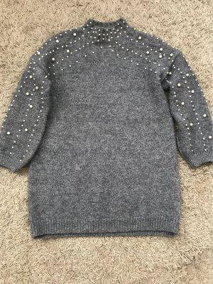 Swetrowa sukienka szary-ciemnoszary