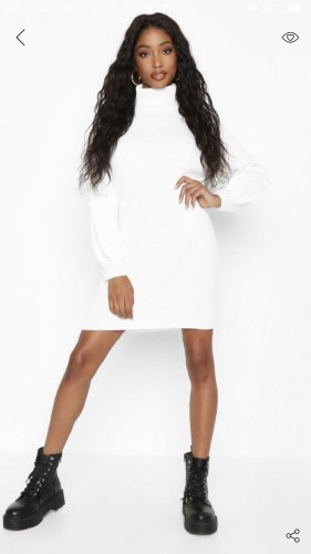 Bohoo Swetrowa sukienka biały