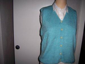 Sweter bez rękawów z cienkiej dzianiny turkusowy