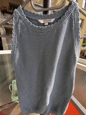 Review Sweter bez rękawów z cienkiej dzianiny jasnoniebieski Wiskoza