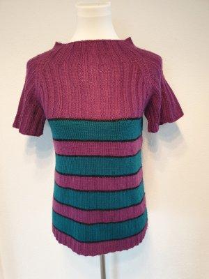 Handarbeit Top en maille crochet bleu pétrole-violet