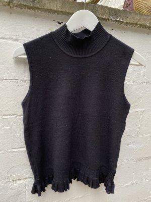 Apart Sweter bez rękawów z cienkiej dzianiny czarny