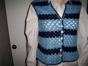 Długi sweter bez rękawów niebieski neonowy