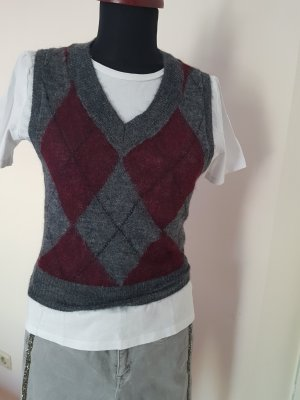 Zara Fine Knitted Cardigan grey-bordeaux