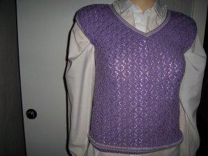 Sweter bez rękawów z cienkiej dzianiny fiolet