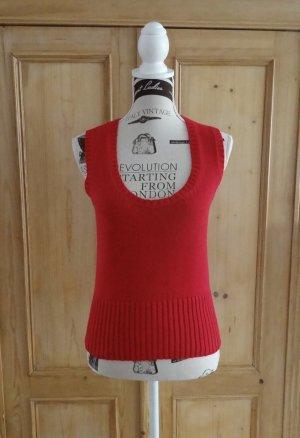 Zero Sweter bez rękawów z cienkiej dzianiny czerwony Bawełna