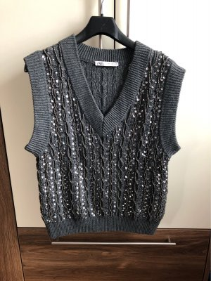 Zara Fine Knitted Cardigan grey-silver-colored