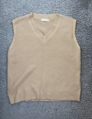 Yesstyle Sweter bez rękawów z cienkiej dzianiny kremowy-nude