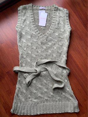Orsay Długi sweter bez rękawów jasnoszary-jasnobeżowy