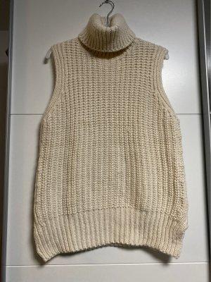 H&M Długi sweter bez rękawów kremowy-w kolorze białej wełny