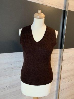 Montego Sweter bez rękawów z cienkiej dzianiny ciemnobrązowy