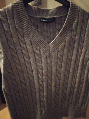 SheIn Sweter bez rękawów z cienkiej dzianiny szary