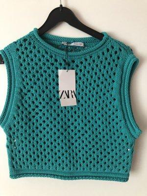 Zara Sweter bez rękawów z cienkiej dzianiny zielony