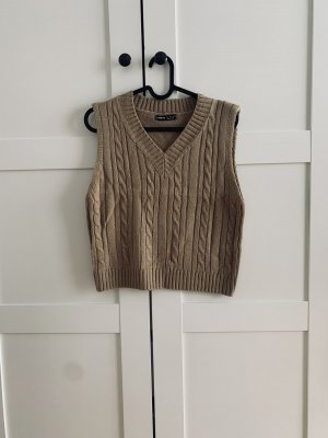 Sheinside Sweter bez rękawów z cienkiej dzianiny jasnobrązowy