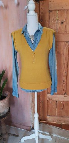 Reverso Sweter bez rękawów z cienkiej dzianiny piaskowy brąz-żółty