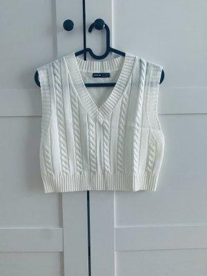 Sheinside Sweter bez rękawów z cienkiej dzianiny biały