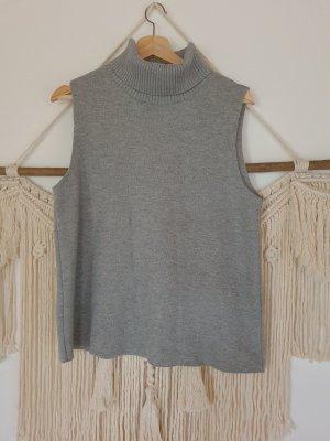 Zara Długi sweter bez rękawów jasnoszary-szary