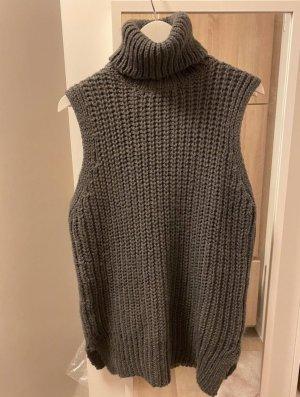 H&M Długi sweter bez rękawów ciemnoszary-taupe