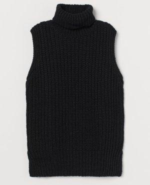 H&M Długi sweter bez rękawów czarny