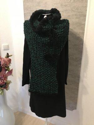 Długi sweter bez rękawów czarny-ciemnozielony Wełna