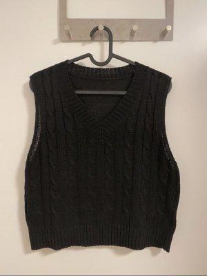 Vintage Sweter bez rękawów z cienkiej dzianiny czarny