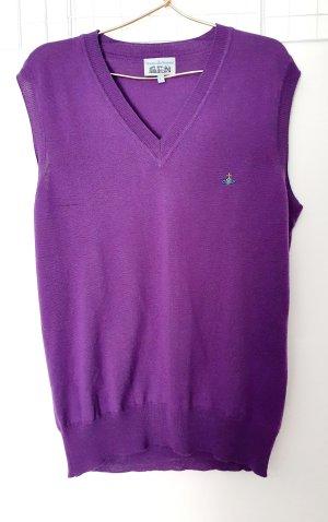Vivienne Westwood Sweter bez rękawów z cienkiej dzianiny fiolet Wełna