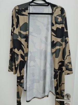 Długi sweter bez rękawów oliwkowy-khaki