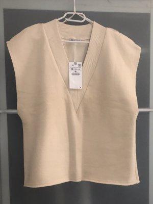 Zara Sweter bez rękawów z cienkiej dzianiny kremowy