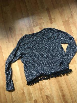 New Look Szydełkowany sweter czarny-biały