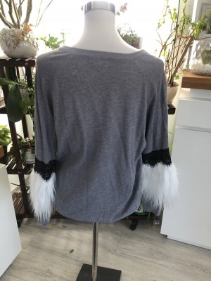 Pull polaire gris-blanc