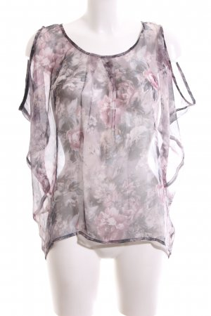 PULZ Jeans Transparenz-Bluse rot-braun Allover-Druck Elegant