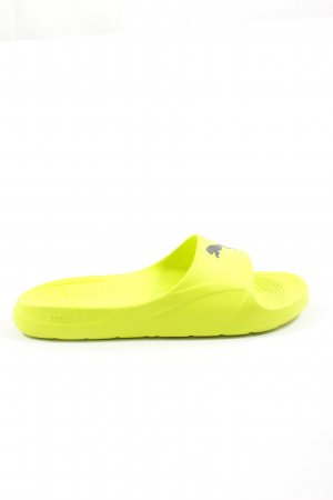 Puma Chaussons de bain jaune primevère-noir imprimé avec thème