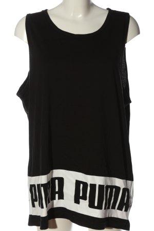 Puma Basic topje zwart-wit gedrukte letters casual uitstraling