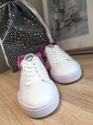 Puma Basket Sneaker weiß lila mit Schleife