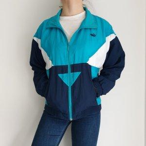 Puma blau weiß True Vintage Pulli Pullover Jacke Trainigsjacke Hoodie Sweater Oversize