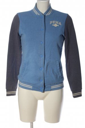 Puma College jack blauw-wit gedrukte letters casual uitstraling