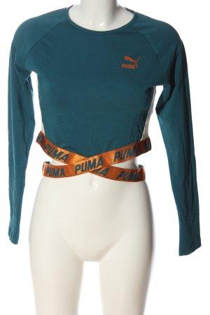 Puma Cropped Shirt grün-hellorange Schriftzug gedruckt Casual-Look