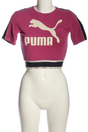 Puma T-shirt court rose-blanc cassé imprimé avec thème style décontracté